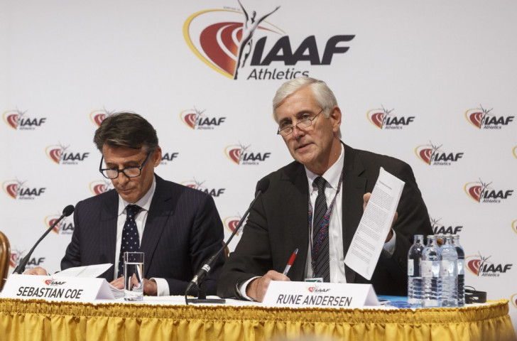 Norway's Rune Andersen delivers the recoomendations of the International Association of Athletics Federations' Task force on June 17, sitting alongside IAAF President Sebastian Coe ©Getty Images