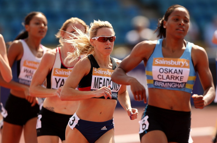 Jenny Meadows (second right), pictured running in last year's British Championships, believes Yulia Stepanova should run at the Olympics, even though the Russian effectively cheated her of a place in the 2011 800m world final ©Getty Images