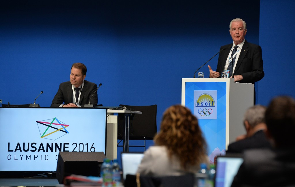 Olivier Niggli, left, will work closely with WADA President Sir Craig Reedie, right, in his new role ©Getty Images