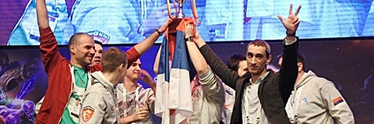 Serbia pictured celebrating winning the overall esports world title in Seoul in 2015 ©IeSF