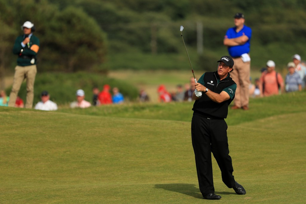 Mickelson shoots record-equalling major round to open up three-shot lead at The Open Championship