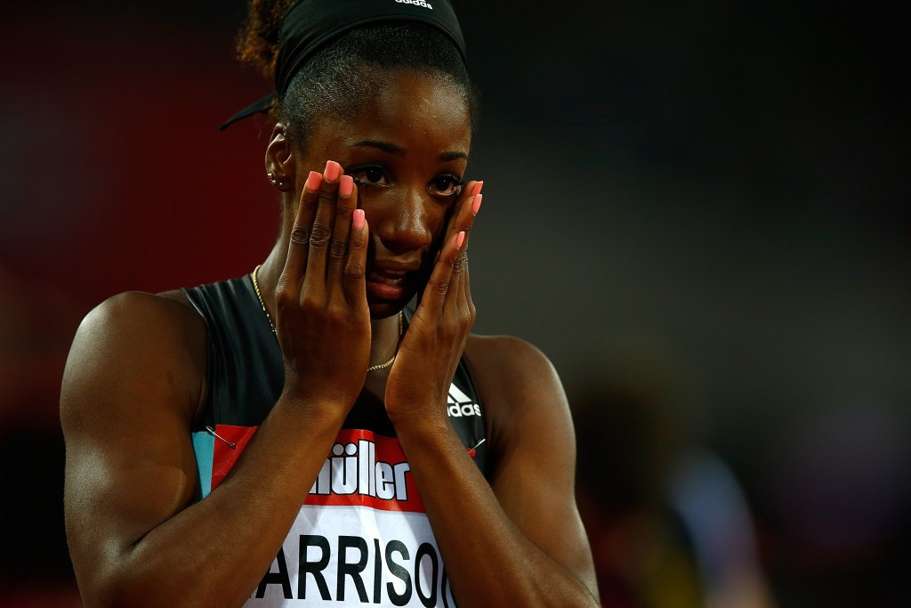 Kendra Harrison reacts to setting a world record in the 100m hurdles in London ©Getty Images