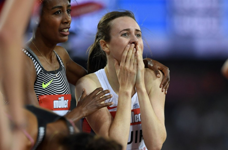 Laura Muir takes in the fact that she has beaten Kelly Holmes' British 1500m record with her victory at the Muller Anniversary Games in 3min 57.49sec ©Getty Images