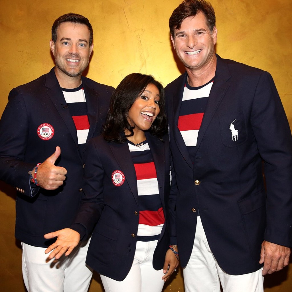 United States athletes display their Opening Ceremony uniforms for Rio 2016, including the special flagbearers one sported by Cliff Meidl, right ©Ralph Lauren/Twitter