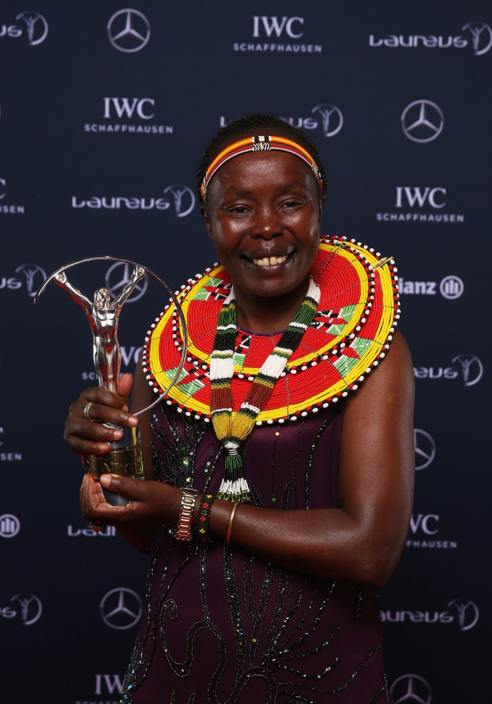 Tegla Loroupe, Kenya's former marathon world record holder who will act as Chef de Mission of the Refugee Olympic Team at the Rio Games, pictured at this year's Laureus Sports Awards in Berlin ©Getty Images