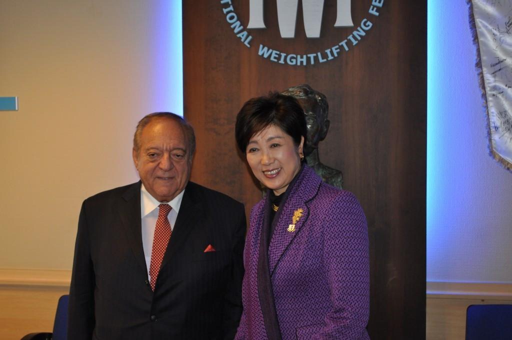 Yuriko Koike (right) pictured alongside International Weightlifting Federation President Tamas Ajan ©IWF