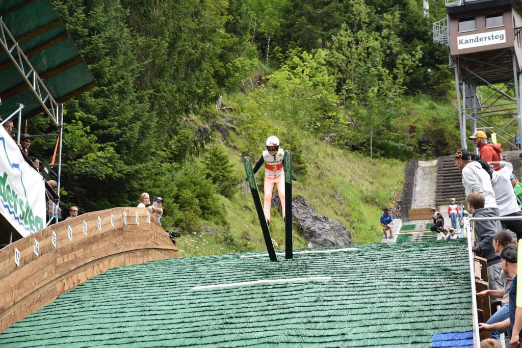 Young athletes had the chance to test the smaller K 24 and K 66 hills yesterday ©FIS
