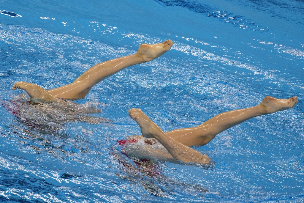 Austria's synchro Duets team dedicated their silver medals to the team mates injured by a bus last week ©Getty Images