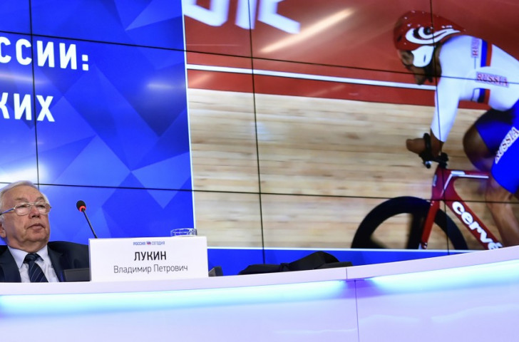 Vladimir Lukin, President of the Russian Paralympic Committee, speaking at today's press conference in Moscow where he described the IPC ban from Rio 2016 as an abuse of human rights ©Getty Images