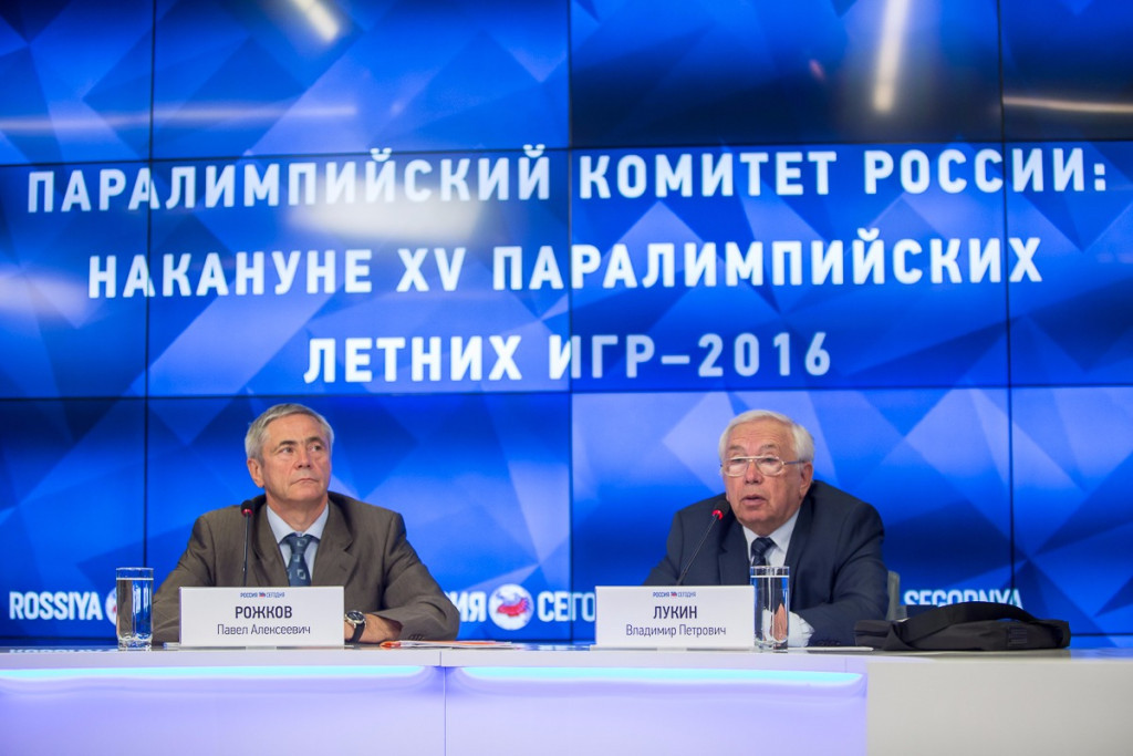 Russian Paralympic Committee President Vladimir Lukin, right, is leading the campaign to get the team reinstated for Rio 2016 ©RPC