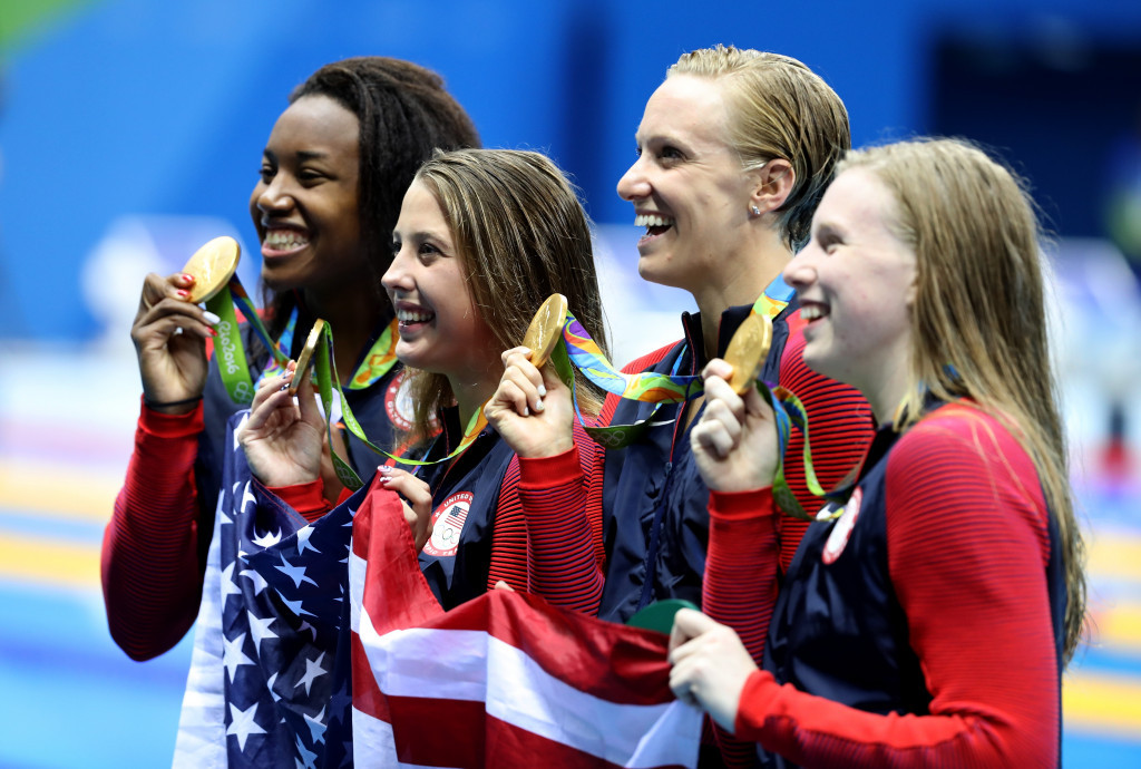 United States' women claim women's 4x100m medley relay gold ©Getty Images