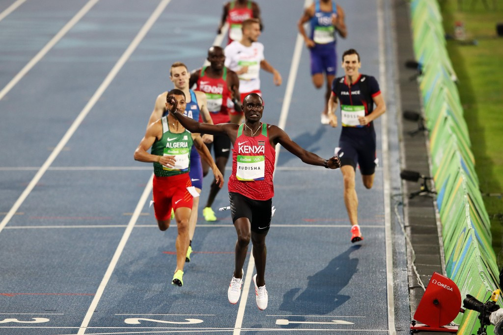 Kenya's David Rudisha retained his Olympic title in the 800m with another fine performance at Rio 2016, although it fell short of his spectacular world record performance at London four years ago ©Getty Images