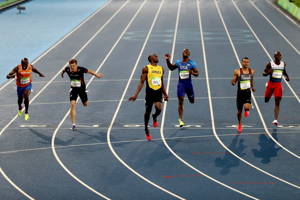 Jamaica's Usain Bolt reacted to his third successive Olympic 200m win, which completed a triple Olympic 100/200 double following Beijing 2008 and London 2012, with unusual intensity ©Getty Images