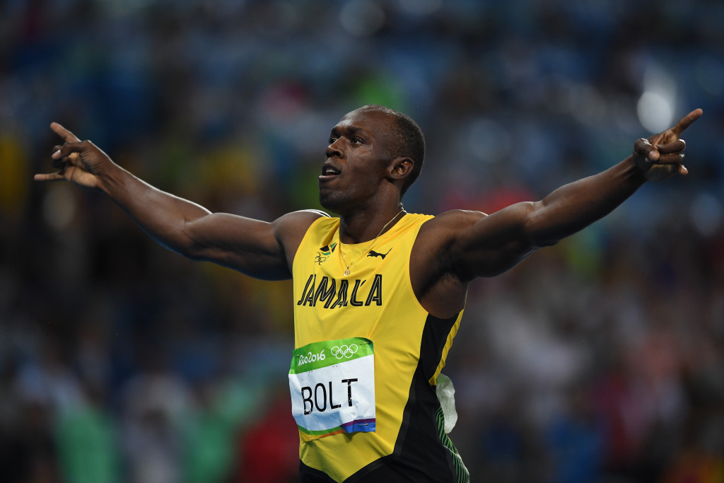 Usain Bolt celebrates his third successive Olympic 200m win ©Getty Images