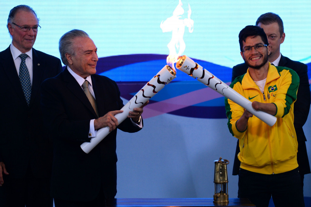 The Rio 2016 Paralympic Torch has been lit by Brazil's interim President Michel Temer at a ceremony held in the host nation's capital Brasília ©Getty Images