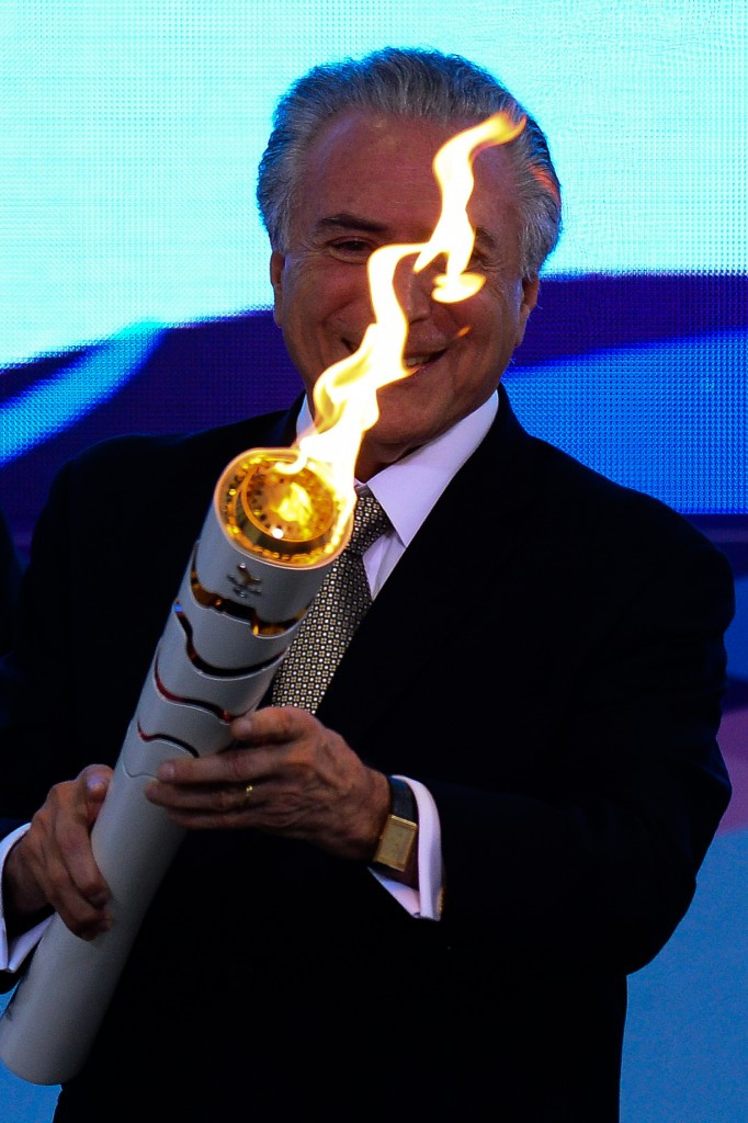 Brazilian acting President Michel Temer at the reception ceremony of the Paralympic Torch at Planalto Palace in Brasilia last week ©Getty Images