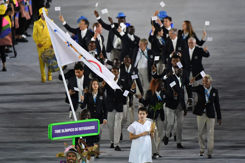 The Refugee Olympic Team marched under the Olympic flag in Rio ©Getty Images