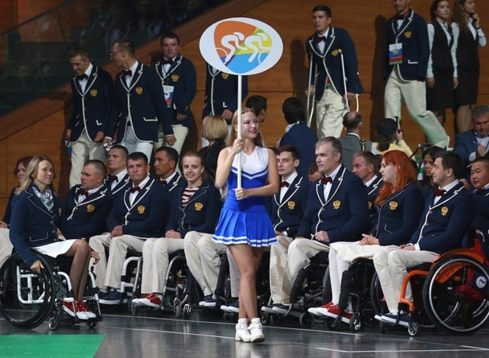 Athletes arrived at the ceremony under their sports emblems, the same icons which are being used at Rio 2016 ©TASS/Sergei Fadeichev