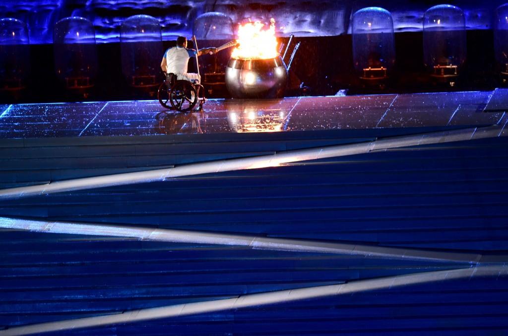 Brazilian swimming legend Clodoaldo Silva lit the Paralympic Cauldron ©Getty Images