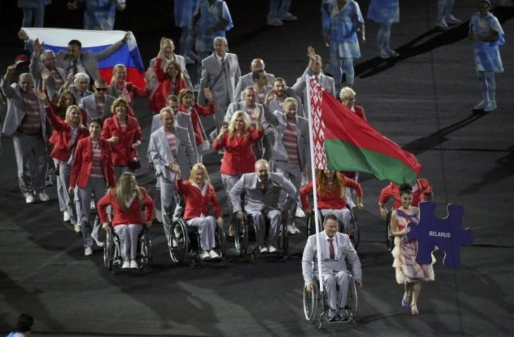 A representative of the Belarusian delegation who carried Russian flag during the Opening Ceremony of the Rio 2016 Paralympic Games as a gesture of solidarity with the banned nation ©Getty Images