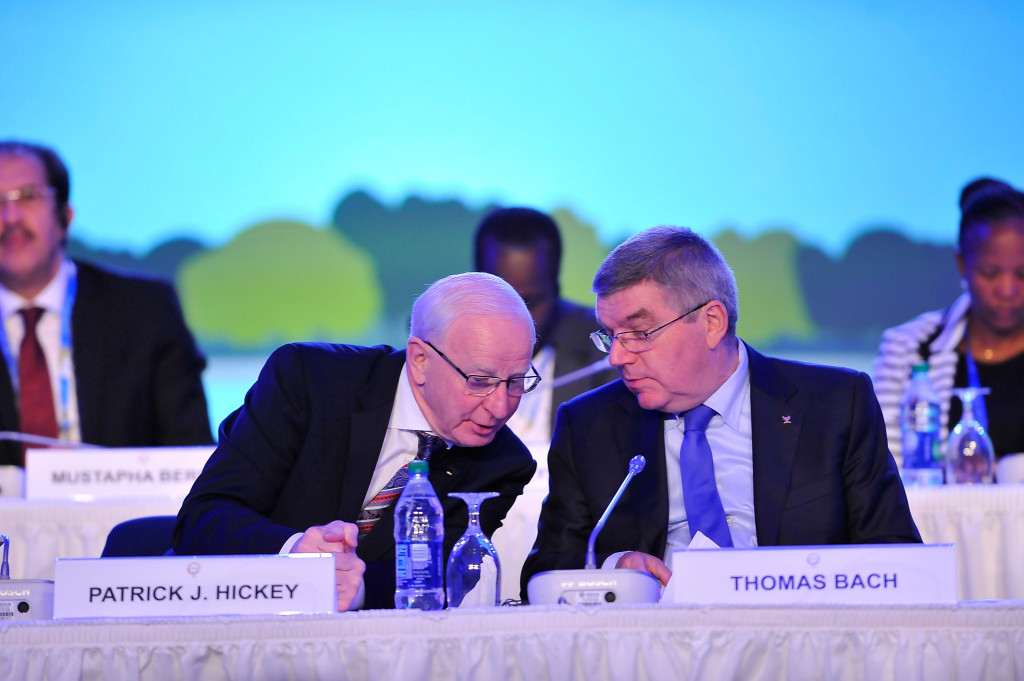 Text messages released by the police reveal the close relationship shared by Thomas Bach and Patrick Hickey ©Getty Images