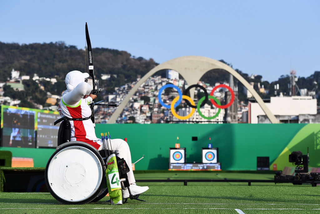 Wu Chunyan and Zhao Lixue of China defeated Iran's Zahra Nemati (pictured) and Ebrahim Ranjbarkivaj in the mixed team recurve open final to claim the first archery gold medal of the Rio 2016 Paralympic Games ©Getty Images