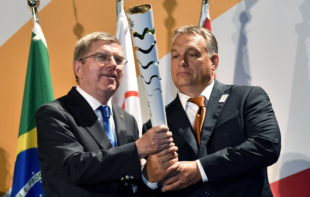 Hungarian Prime Minister Viktor Orbán, right, met IOC President Thomas Bach during his visit to Rio 2016 ©Hungarian Government