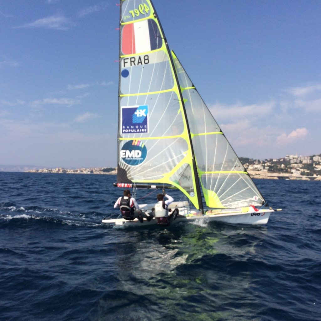 Tony Estanguet tried sailing in the proposed Paris 2024 Olympic water during the promotional visit ©Paris 2024