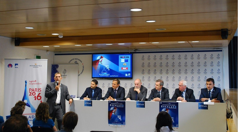 A pre-event press conference was held to mark the beginning of the competition in Paris ©IFSC