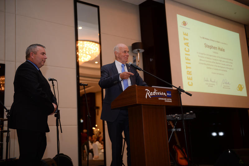 Stephen Hale (left) was honoured for his considerable role in the development of biathlon in Canada ©IBU