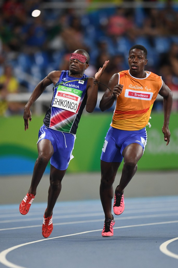 Namibia's Ananias Shikongo on his way to victory in the T11 200m at the Paralympic Games in Rio de Janeiro ©Getty Images
