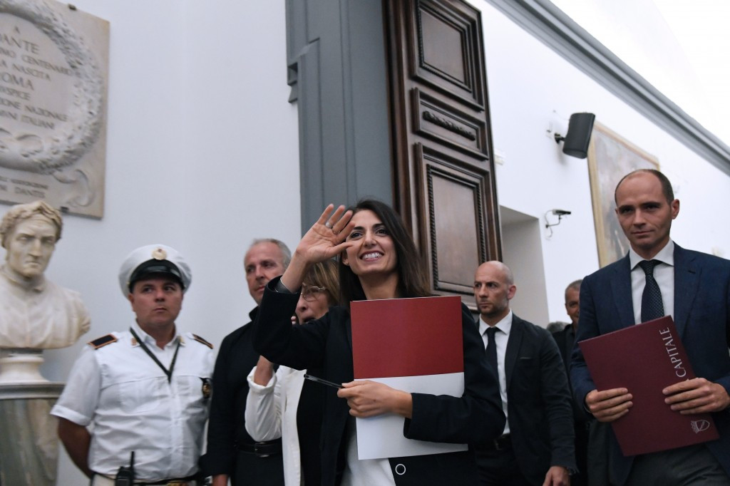 Rome Mayor Virginia Raggi arrives for the press conference where she ended the city's Olympic bid today ©Getty Images