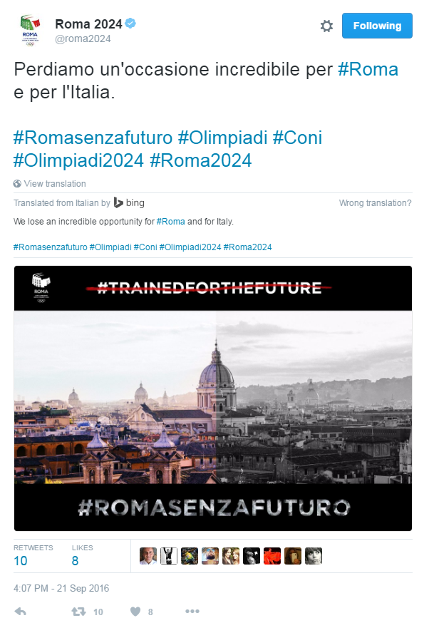 A tweet from the Rome 2024 account said an