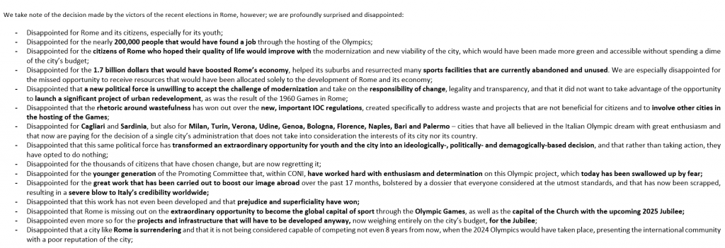 A Rome statement outlines the various