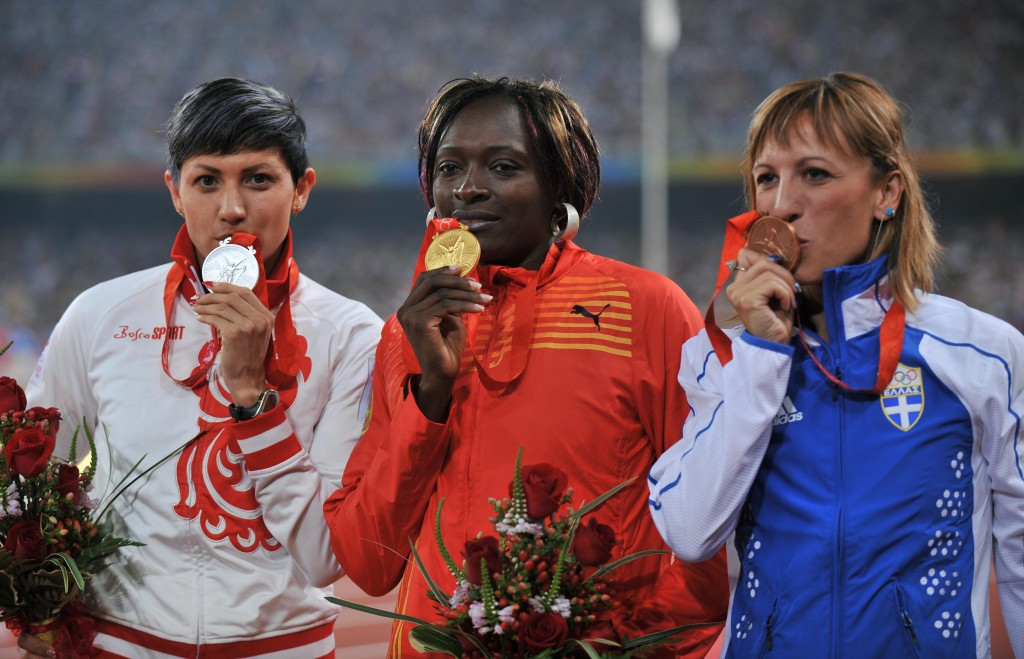 Hrysopiyi Devetzi, right, won the Olympic bronze medal at Beijing 2008 in the triple jump ©Getty Images