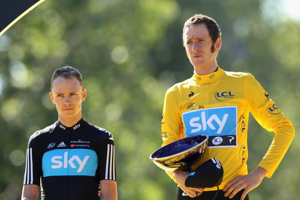 Sir Bradley Wiggins (pictured, right, with Chris Froome) was at the centre of discussions today ©Getty Images