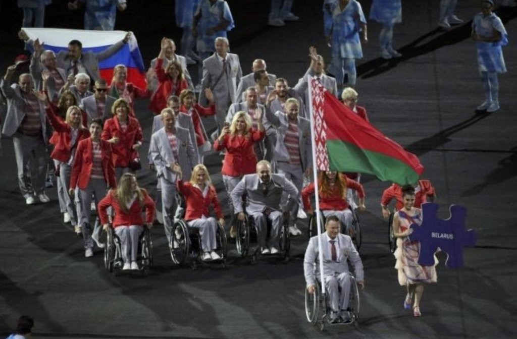 The representative of the Belarusian delegation who carried a Russian flag during the Opening Ceremony of last month's Paralympic Games in Rio de Janeiro will be given an apartment in Moscow as a gift ©Twitter