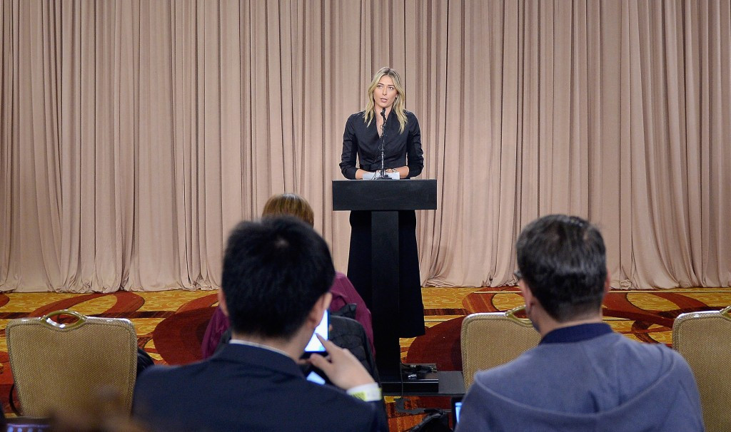 Maria Sharapova uses the colourful environment of the LA Hotel Downtown on March 7 this year to inform media that she has tested positive for meldonium, which was added to the WADA Prohibited List on January 1 ©Getty Images