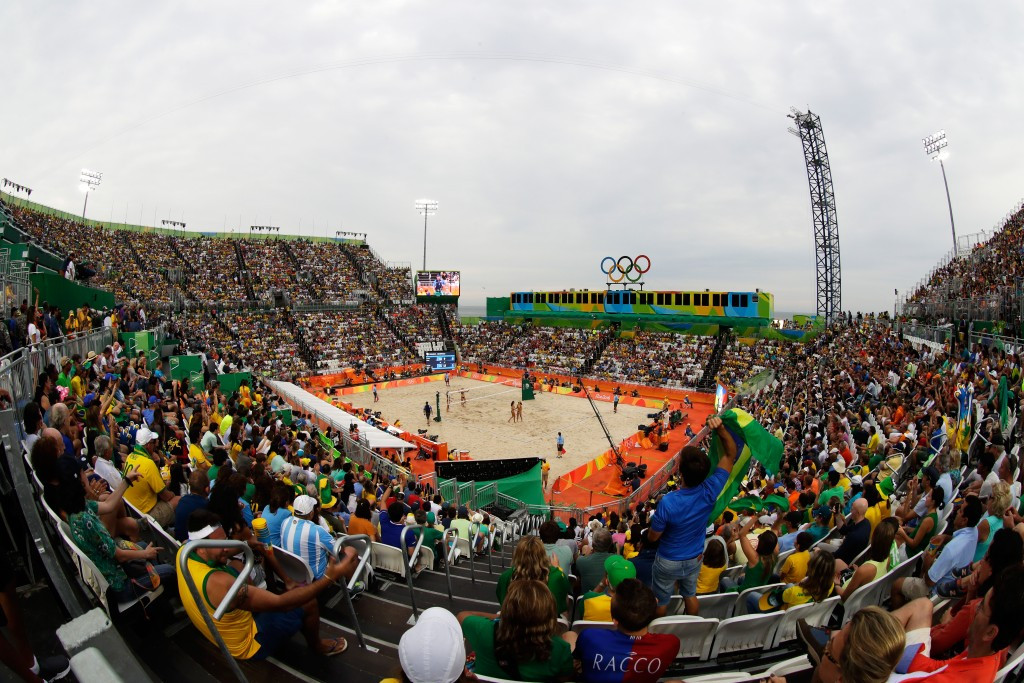 One worker had to have his leg amputated after an incident during the disassembly of the Beach Volleyball Arena in Copacabana ©Getty Images