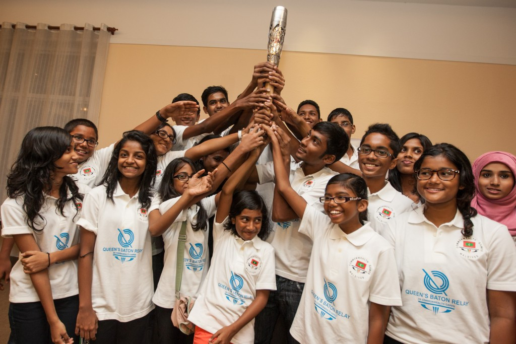 The Queen's Baton Relay for Glasgow 2014 visited the Maldives but stayed only two hours before having to leave again because of political unrest in the country ©Glasgow 2014
