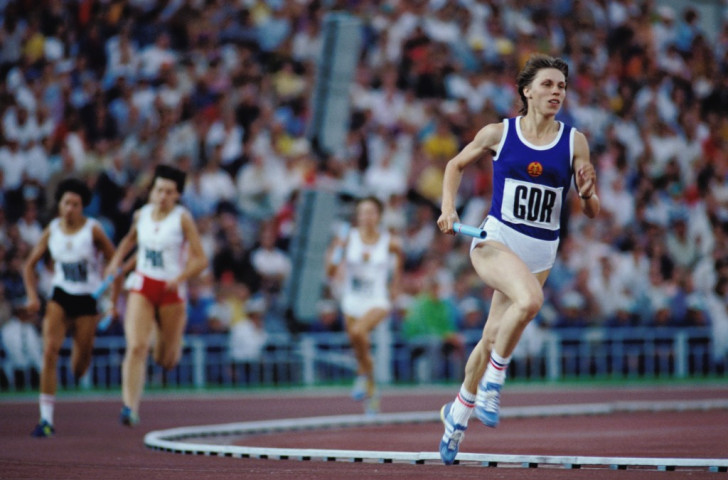 Marita Koch, whose women's 400m world record of 47.60sec has stood since 1985, leaves the world behind as she carries the baton for East Germany at the 1980 Moscow Olympics. The subsequent revelation of a state-run doping regime in the GDR has led some to call for world records set by their athletes to be annulled - but is this what Bailey is espousing? It's not clear ©Getty Images