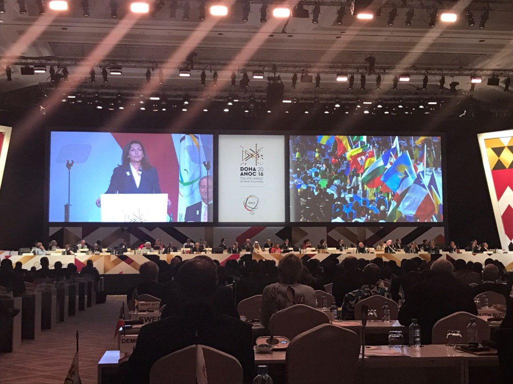 Paris 2024 presenting during the ANOC General Assembly ©Getty Images