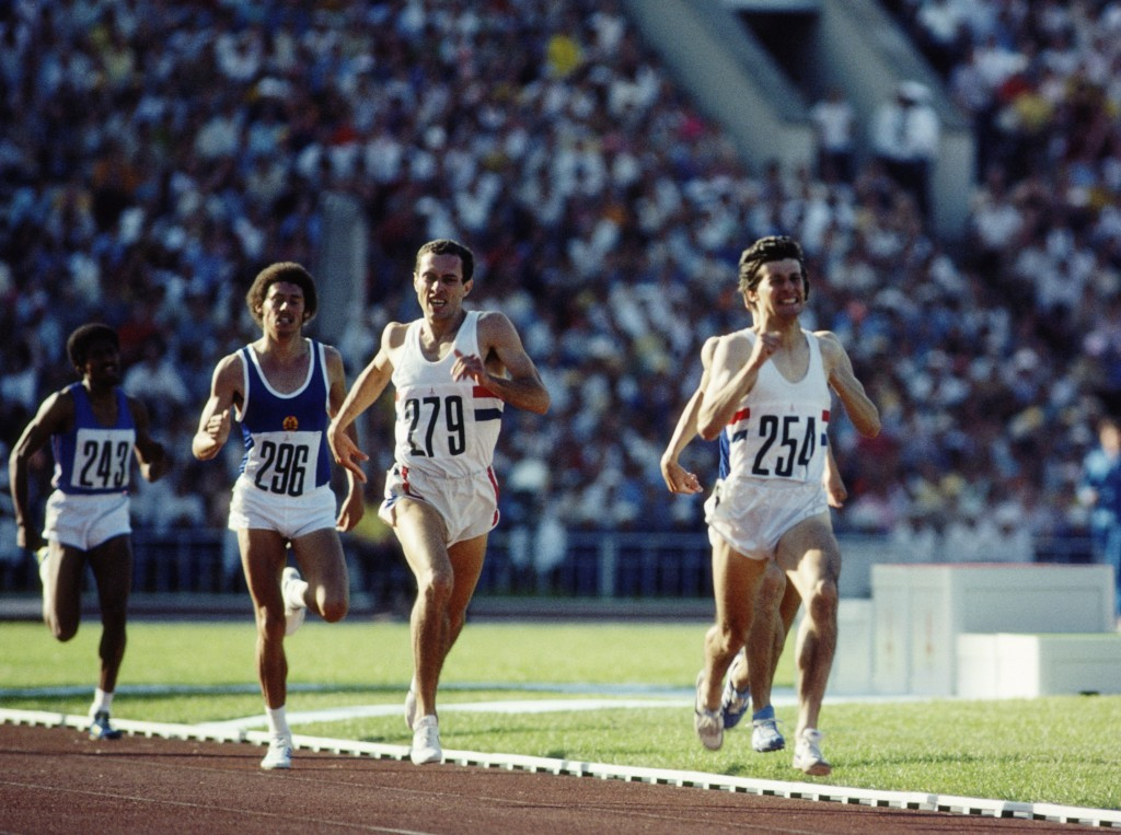 Sebastian Coe in front of compatriot Steve Ovett in the Moscow 1980 1,500m ©Getty Images