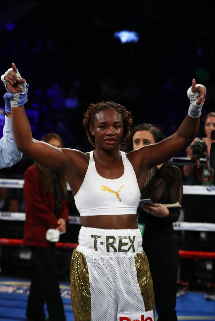 Claressa Shields (pictured) defeated Franchon Crews on her professional boxing debut ©Getty Images