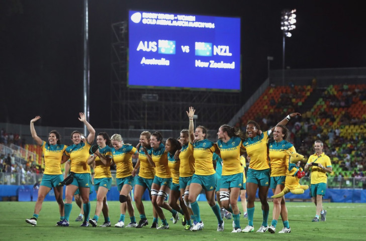 Australia's women celebrate victory over New Zealand in the Rio 2016 sevens final. Growing interest in the women's game will soon see a sixth tournament added to the annual HSBC Sevens Series ©Getty Images