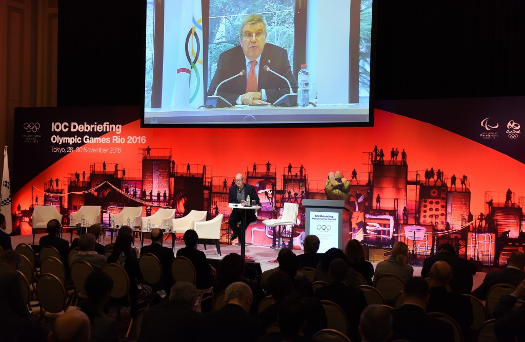 IOC President Thomas Bach also spoke live via videolink during the debrief ©Getty Images