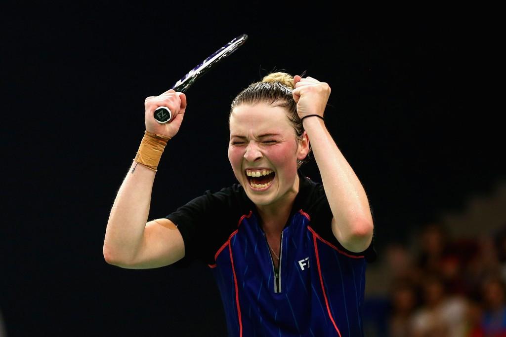 Denmark's Line Kjaersfeldt celebrates winning the women's badminton singles gold at the European Games ©Getty Images