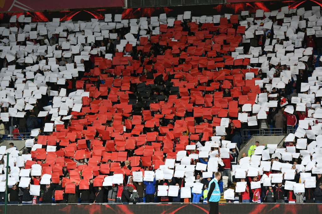 Wales displayed a mosaic before their match against Serbia in Cardiff ©Getty Images