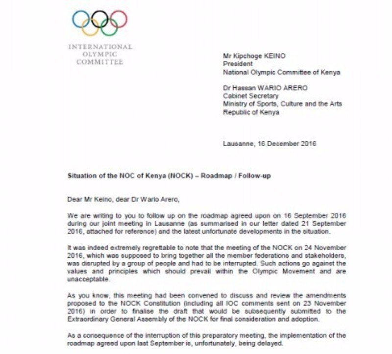 The first page of the letter sent by the IOC and ANOCA to the NOCK ©ITG