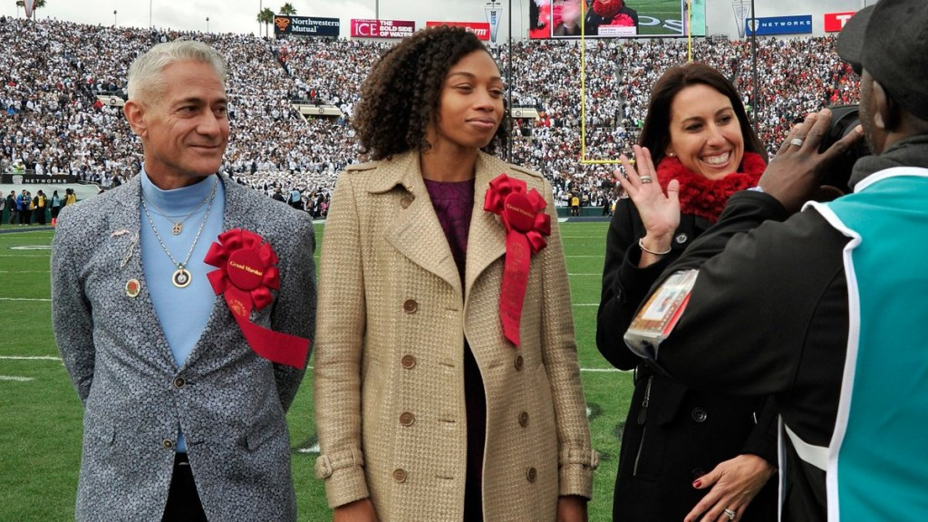 Los Angeles 2024 Athletes' Advisory Commission leaders Janet Evans, right, Allyson Felix, centre, and Greg Louganis, left, participated in the coin toss to start the Rose Bowl college football game ©LA 2024